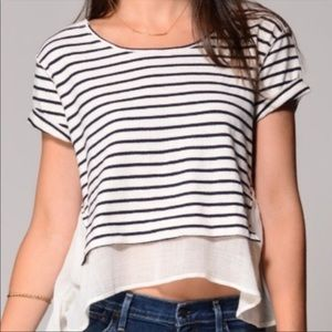 Free People Striped Hi Lo Sheer top small